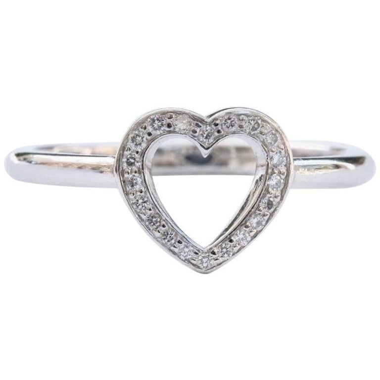d0f4cb911 Tiffany and Co. Diamond Open Heart Ring in Platinum at 1stdibs