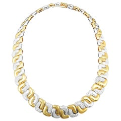 Tiffany & Co. Diamond Pave Yellow and White Gold Collar Necklace