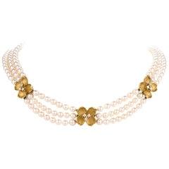 Tiffany & Co. Diamond Pearl Dogwood Flower 18 Karat Gold Multi-Strand Necklace