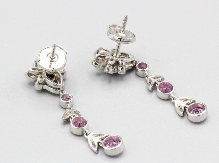 Women's Tiffany & Co. Diamond Pink Sapphire and Platinum Ear Pendants Earrings For Sale