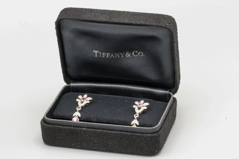 Tiffany & Co. Diamond Pink Sapphire and Platinum Ear Pendants Earrings For Sale 2