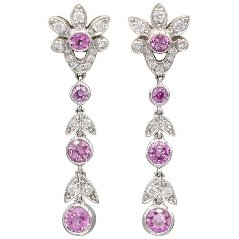 Tiffany & Co. Diamond Pink Sapphire and Platinum Ear Pendants Earrings For Sale