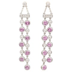 Tiffany & Co. Diamond Pink Sapphire and Platinum Jazz Ear Pendants