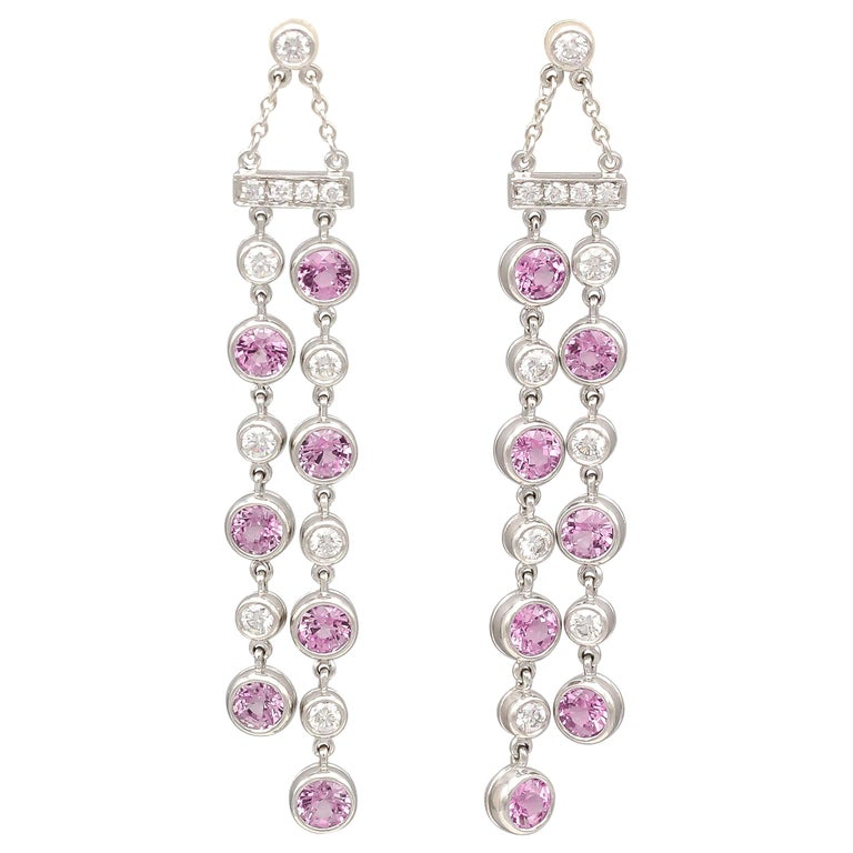 Tiffany & Co. Diamond Pink Sapphire and Platinum Jazz Ear Pendants For Sale