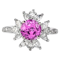 Tiffany & Co. Diamond Pink Sapphire Platinum Round Marquis Halo Ring