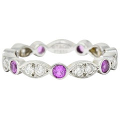 Tiffany & Co. Diamond Pink Sapphire Platinum Tiffany Jazz Band Ring