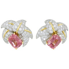 Tiffany & Co. Diamond, Pink Tourmaline Schlumberger Ear Clips