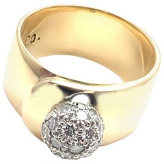 Tiffany & Co. Diamond Platinum and Yellow Gold Wide Band Ring