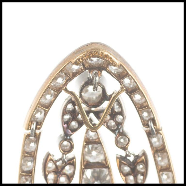 Women's Tiffany & Co. Diamond Platinum Bow Brooch Pendant Necklace For Sale