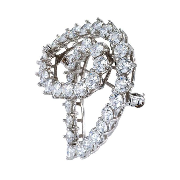 Modern Tiffany & Co. Diamond Platinum Brooch For Sale