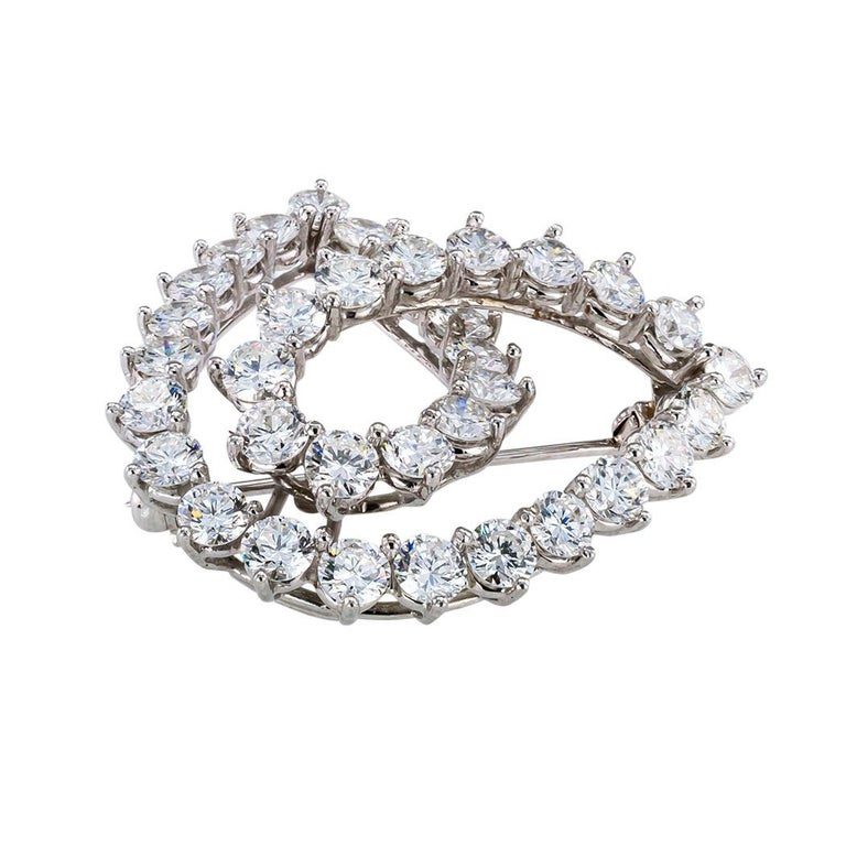 Round Cut Tiffany & Co. Diamond Platinum Brooch For Sale
