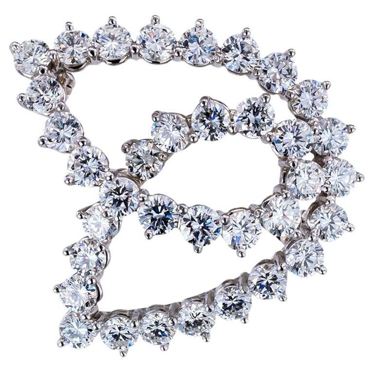 Tiffany & Co. Diamond Platinum Brooch For Sale