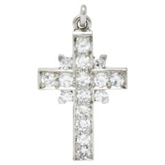 Tiffany & Co. Diamond Platinum Cross Charm, circa 1950