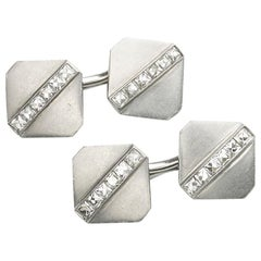 Tiffany & Co. Diamond Platinum Cufflinks, circa 1920