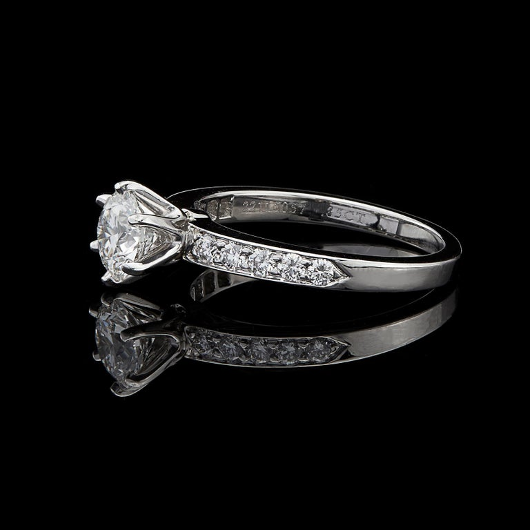 Round Cut Tiffany & Co. Diamond Platinum Engagement Ring For Sale