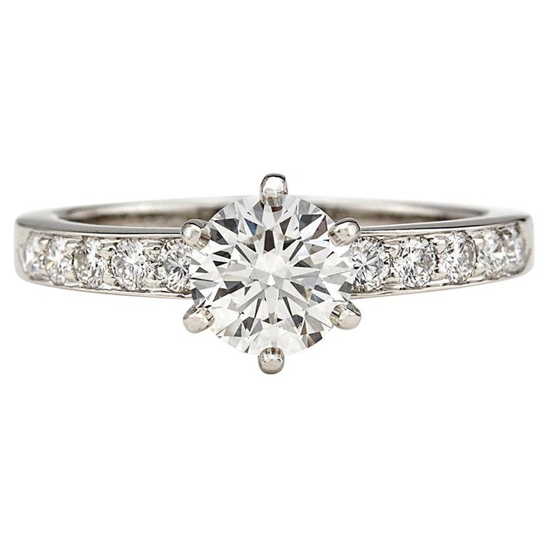 Tiffany & Co. Diamond Platinum Engagement Ring For Sale