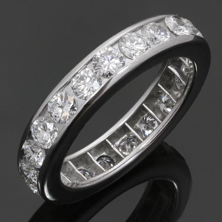 This classic and elegant Tiffany eternity band is crafted in platinum and features a full circle of a full circle of round brilliant-cut diamonds of an estimated 1.85 carats. Made in United States circa 2010s. Measurements: 0.15