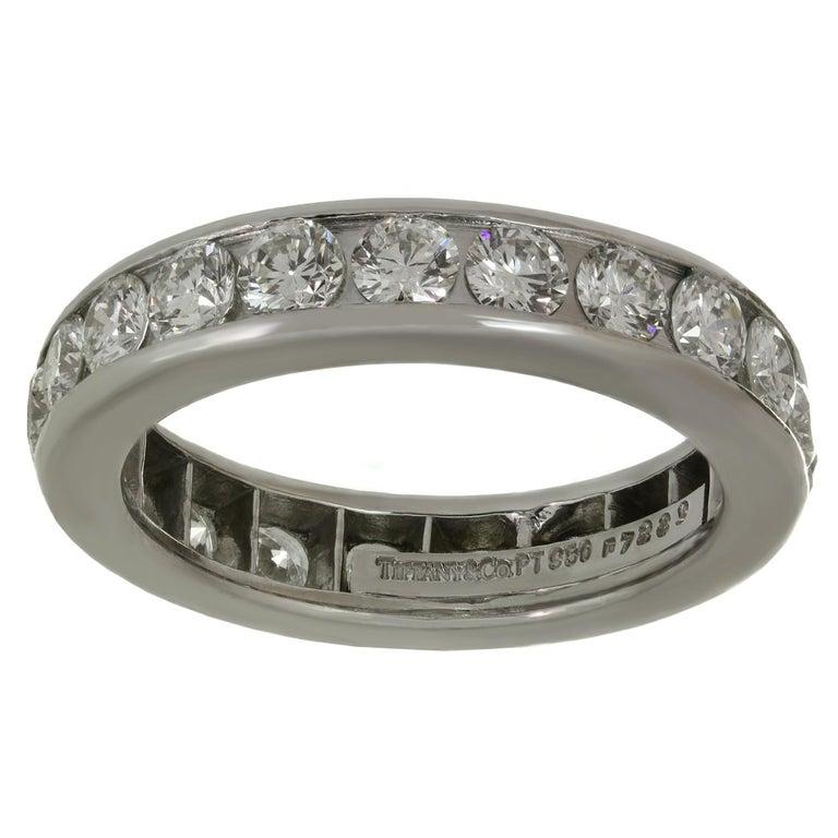 Women's Tiffany & Co. Diamond Platinum Eternity Band Ring For Sale