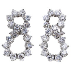 Tiffany & Co. Diamond Platinum Eternity Shape Earrings