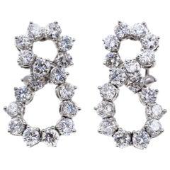 Tiffany & Co. Diamond Platinum Eternity Shape Earrings
