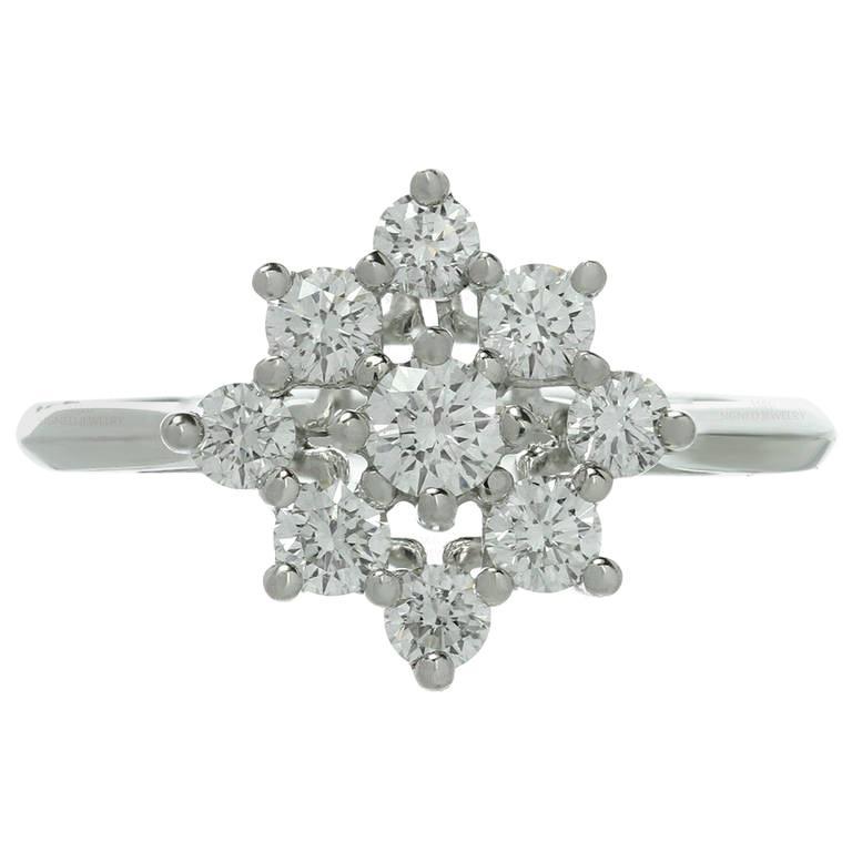 Tiffany & Co. Diamond Platinum Flower Ring For Sale