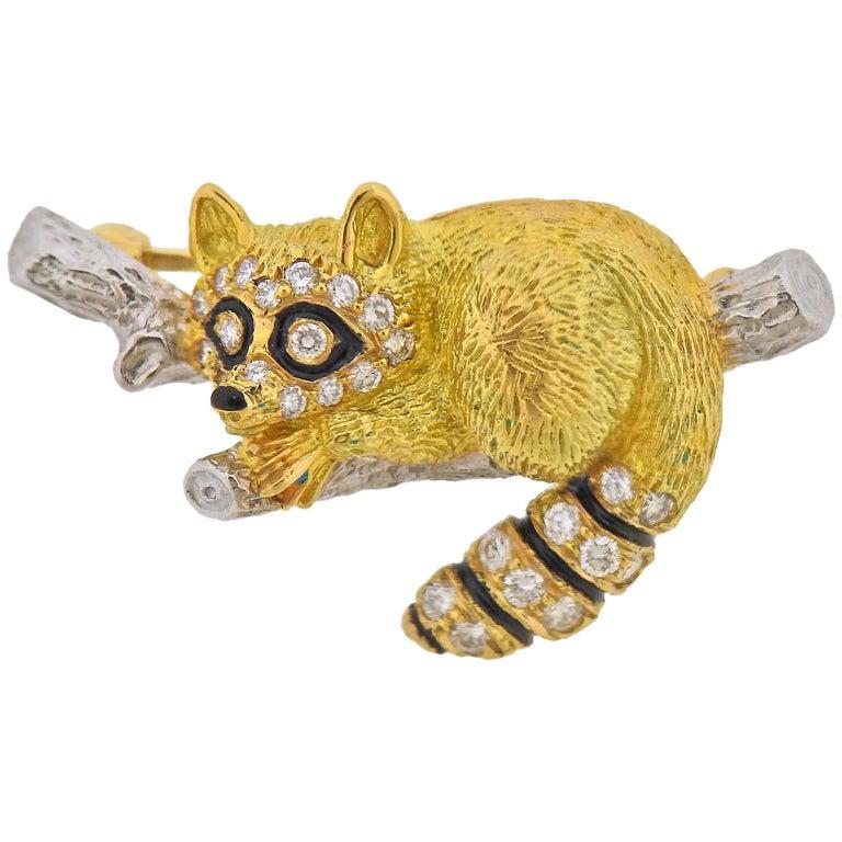 Tiffany & Co. Diamond Platinum Gold Enamel Raccoon Brooch Pin For Sale
