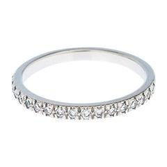 Tiffany & Co Diamond Platinum Half Eternity Band Ring Size 55
