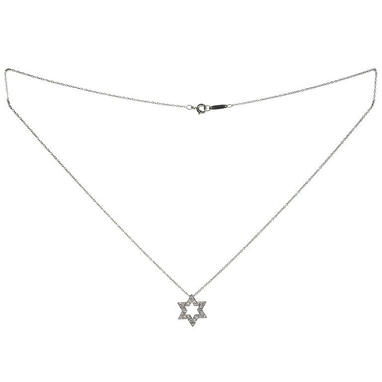 Brilliant Cut Tiffany & Co Diamond Platinum Star of David Pendant Necklace For Sale