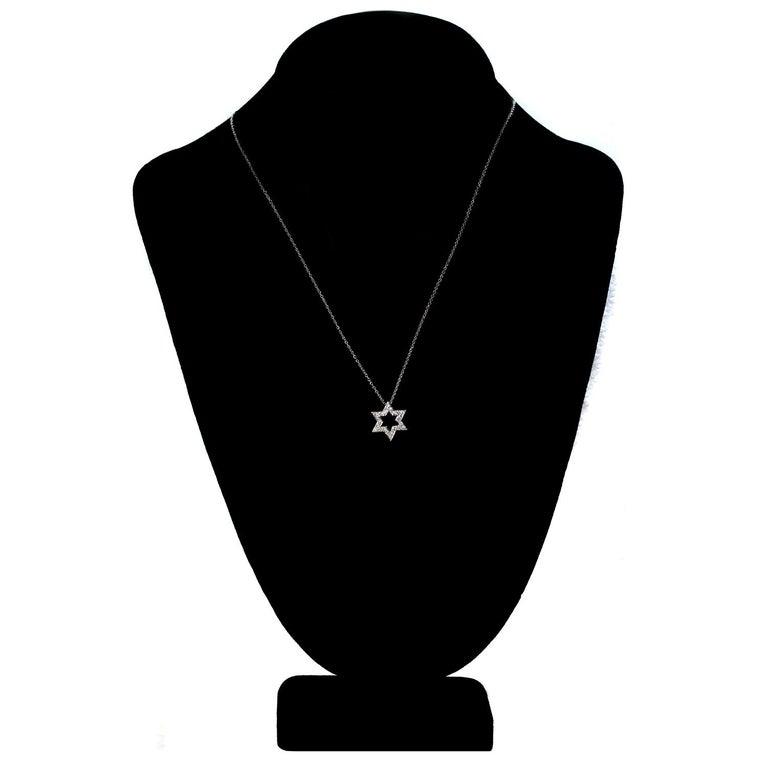 Women's or Men's Tiffany & Co Diamond Platinum Star of David Pendant Necklace For Sale