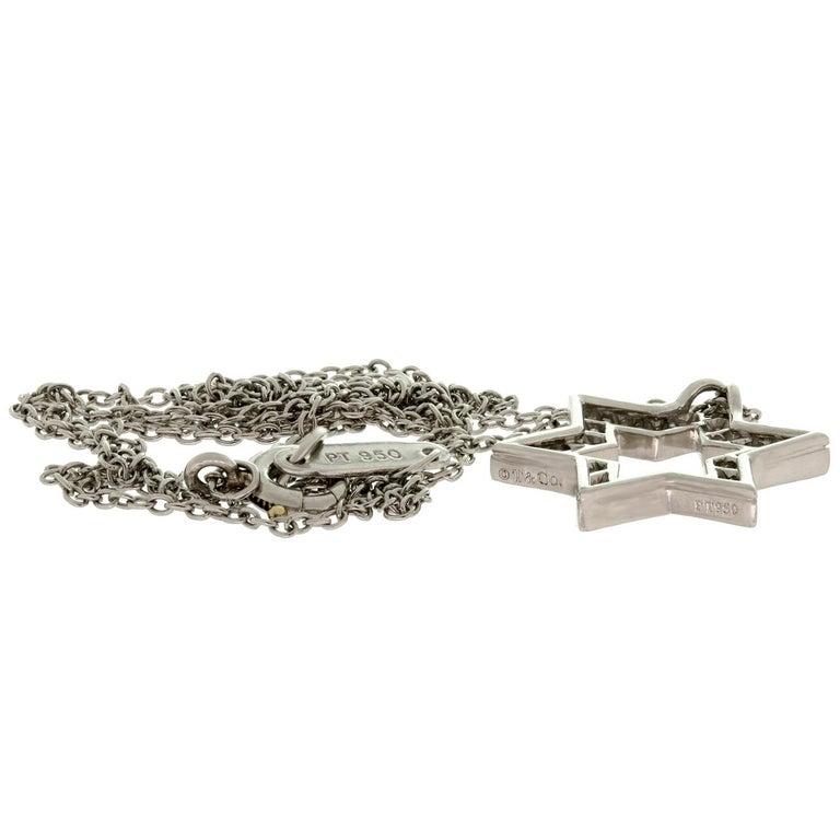 Tiffany & Co Diamond Platinum Star of David Pendant Necklace For Sale 1