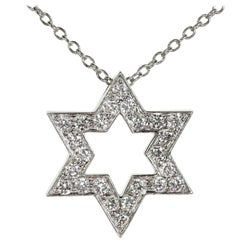 Tiffany & Co Diamond Platinum Star of David Pendant Necklace