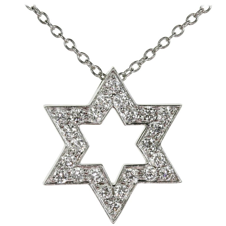 Tiffany & Co Diamond Platinum Star of David Pendant Necklace For Sale
