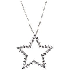 Tiffany & Co. Diamond Platinum Star Pendant and Chain