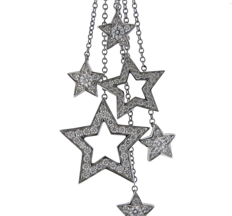 71575e08e Platinum multi chain necklace with stars pendant, set with approx. 0.80ctw  in G. Tiffany & Co. Diamond ...
