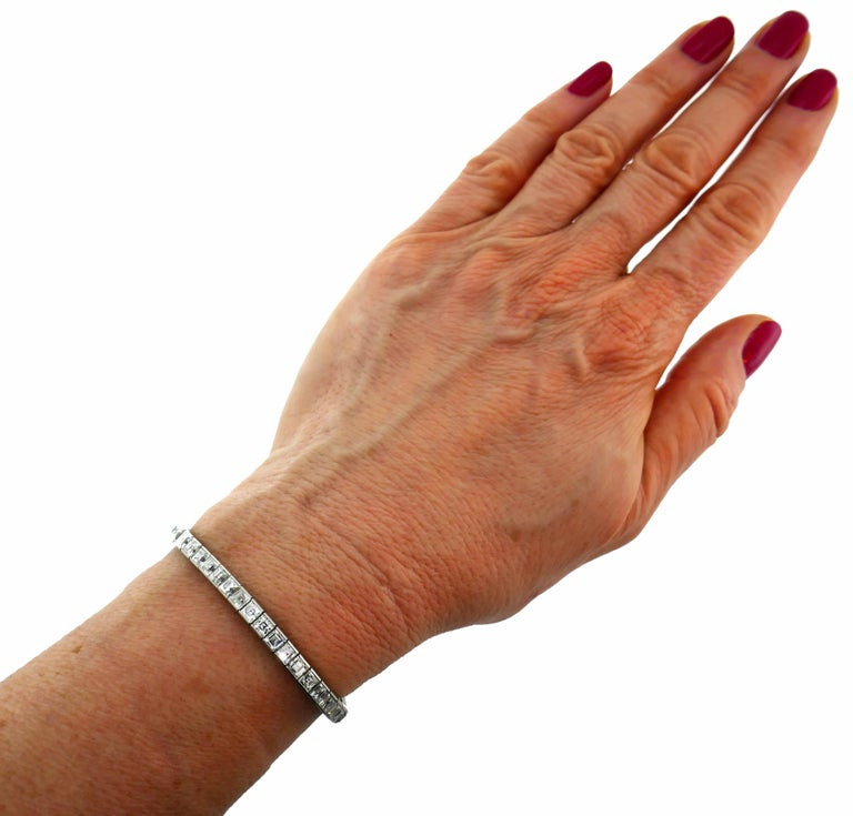 Square Cut Tiffany & Co. Diamond Platinum Tennis Line Bracelet, 1950s For Sale