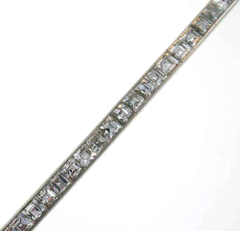 Women's or Men's Tiffany & Co. Diamond Platinum Tennis Line Bracelet, 1950s For Sale