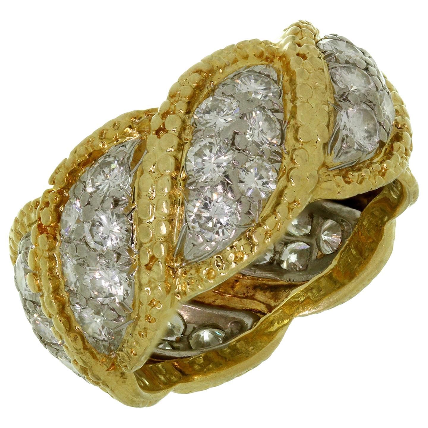 Tiffany & Co. Diamond Platinum Yellow Gold Vintage Band Ring