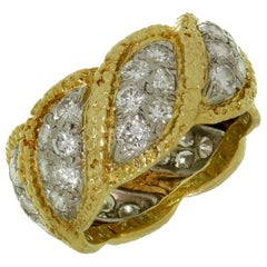 Tiffany & Co. Diamond Platinum Yellow Gold Vintage Band Ring