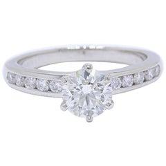 Tiffany & Co. Diamond Ring Round Brilliant 1.46 tcw with Bead Set Band