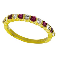 Tiffany & Co. Diamond Ruby 18 Karat Yellow Gold Half Circle Ring