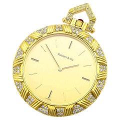 Tiffany & Co. Diamond Ruby 18 Karat Yellow Gold Pocket Quartz Watch