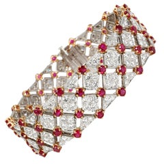 Tiffany & Co. Diamond and Ruby Bracelet in 18K Yellow Gold/Platinum 10.82 Carat