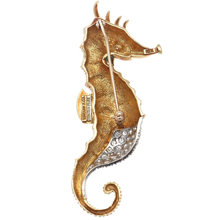 Another in the series of fabulous animal brooches from Tiffany.  Featuring a seahorse decorated in diamonds, rubies and glowing green enamel. Crafted in 18k gold and platinum. Signed Tiffany & Co.