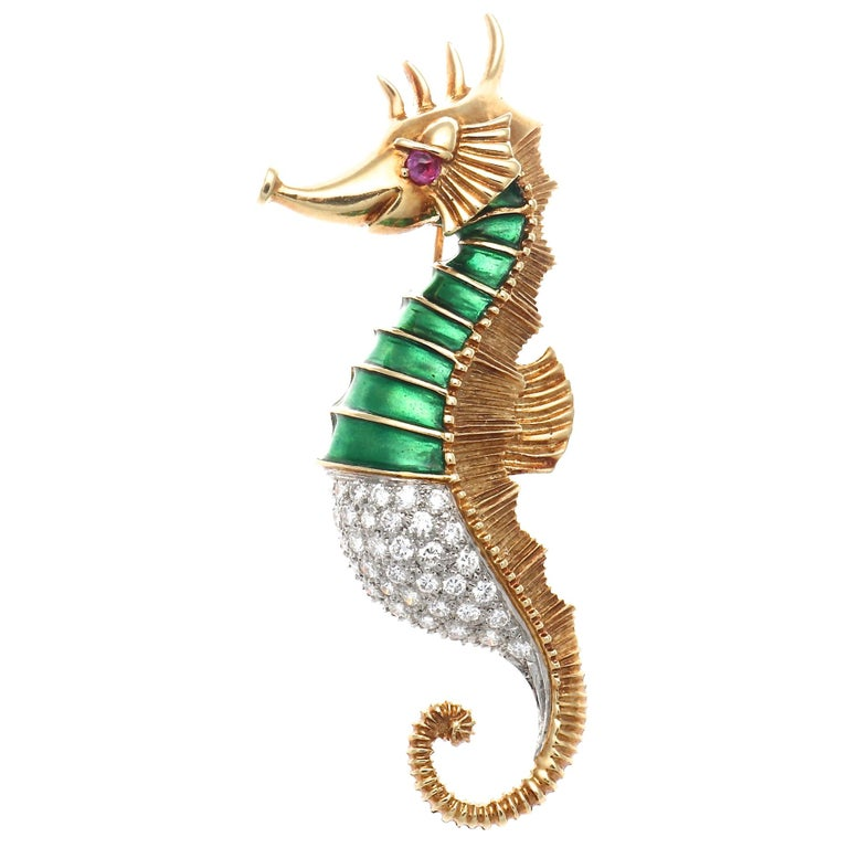 Tiffany & Co. Diamond Ruby Enamel Gold Seahorse Brooch For Sale