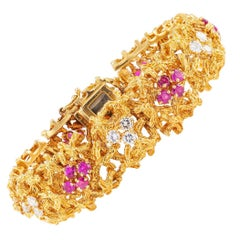 Tiffany & Co. Diamond Ruby Gold Link Bracelet