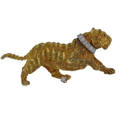 Tiffany & Co. Diamond Ruby Gold Tiger Brooch Pin
