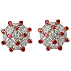 Tiffany & Co. Diamond & Ruby Trellis Earrings in Yellow Gold & Platinum 3.19 Ctw