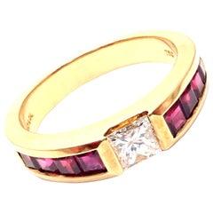 Tiffany & Co. Diamond Ruby Yellow Gold Band Ring