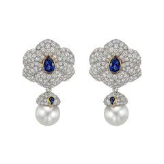Tiffany & Co. Diamond, Sapphire and South Sea Pearl Drop Earrings