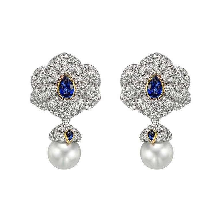 Tiffany & Co. Diamond, Sapphire and South Sea Pearl Drop Earrings For Sale